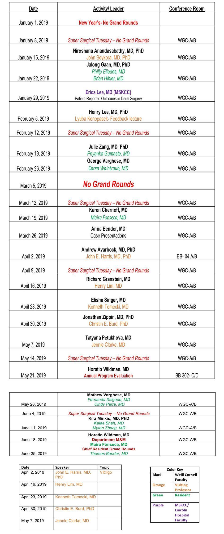 Grand Round & Conference Schedule | Dermatology